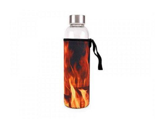 Kikkerland Skleněná láhev na vodu sohnivým obalem 600 ml - 1
