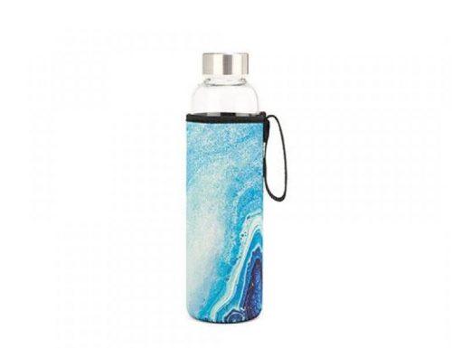 Kikkerland Skleněná láhev na vodu smodrým achátem 600 ml - 1