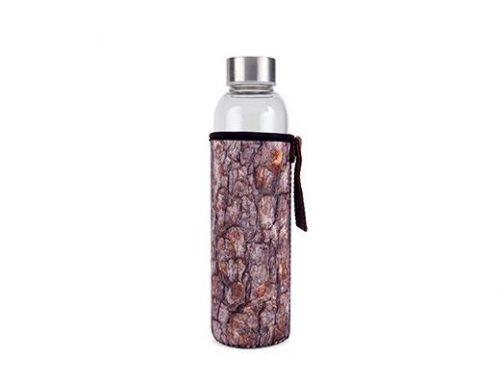 Kikkerland Skleněná láhev na vodu sdřevěným obalem 600 ml - 1