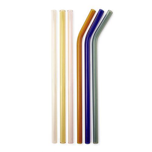 Kikkerland Skleněná brčka sčistícím kartáčkem 6 ks – barevná - 1