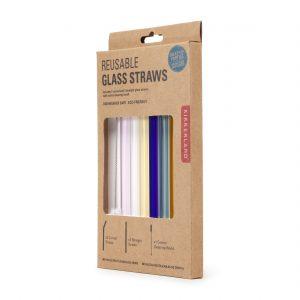 Kikkerland Skleněná brčka sčistícím kartáčkem 6 ks – barevná - 4