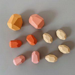 Balanční dřevěné kameny 10ks - 4