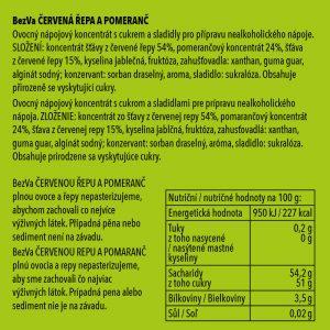 BezVa Červená řepa aPomeranč 250 ml - 2